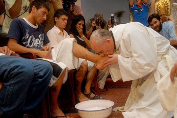 Pope Francis at the chapel of a youth prison