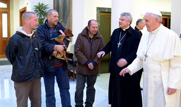 Pope Francis invited homeless men to his birthday meal