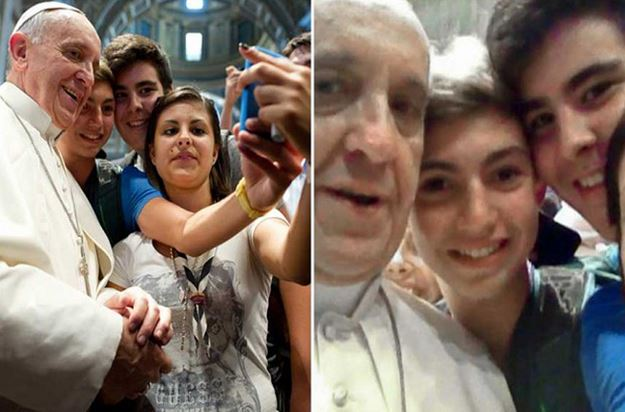 Pope Francis took part in a selfie