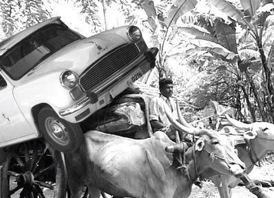 Ambassador on Bullock Cart