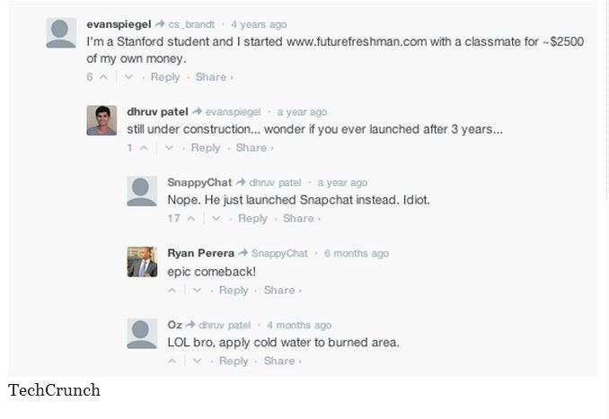 snapchat, evan spiegel, techcrunch, stanford, futurefreshman, dhruvpatel, evan spiegel comment on techcrunch