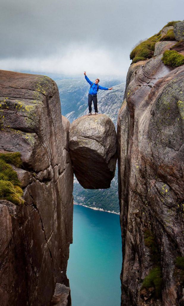 Kjeregbolten boulder in Rogaland, Norway