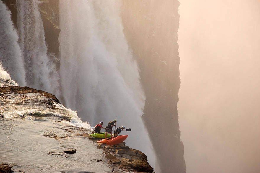 Extreme kayaking at Victoria Falls.