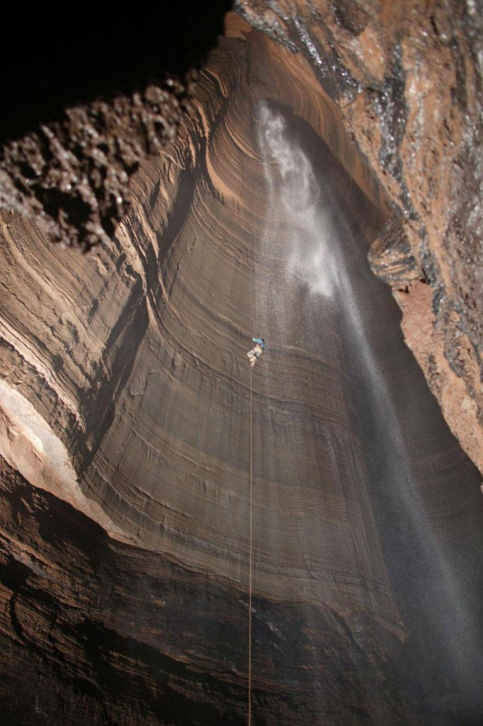 """Rappelling into the """"Fantastic Pit"""" cave in Mexico."""