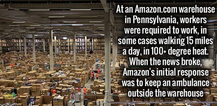 Amazon Warehouse Pennsylvania- Workers in same cases moved 15 miles a days in 100+ degree heat