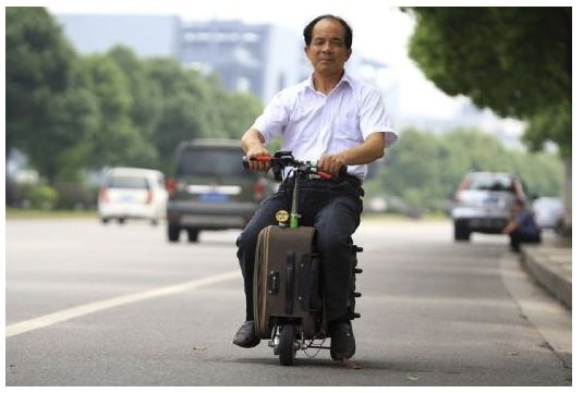 He Liang, Motorized Suitcase, suitcase scooter, chinese innovation, chinese farmer scooter