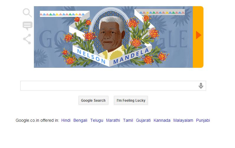google doodle, nelson birthday, south african revolutionist, great revolutionist, legend birthday, google celebrate, south african president
