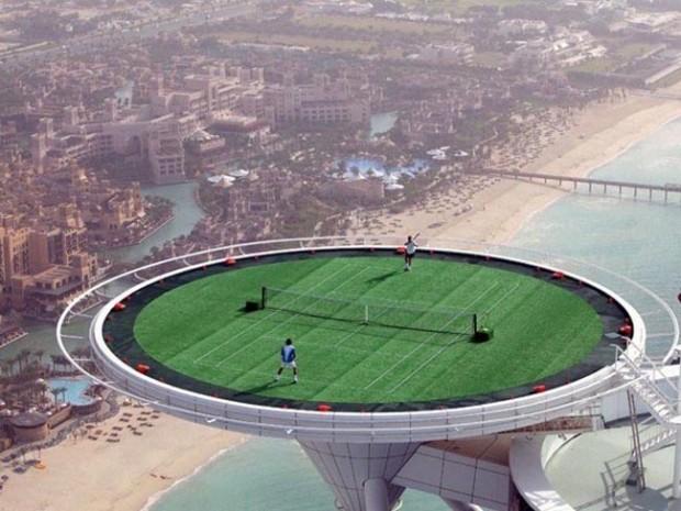 13. Play tennis in the Sky with the Burj Al-Arab sky-high tennis court