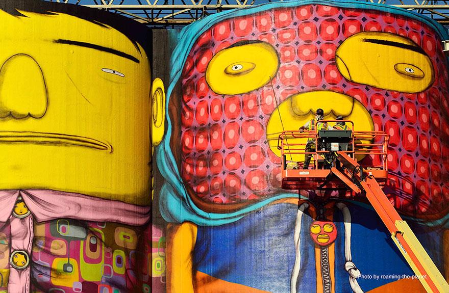 brazilian artists, vancouver, octavio art, gustavo art, art, amazing graffiti, graffiti on tower, canada, twin brothers art, brazilian graffiti, brazilian artwork, granville island