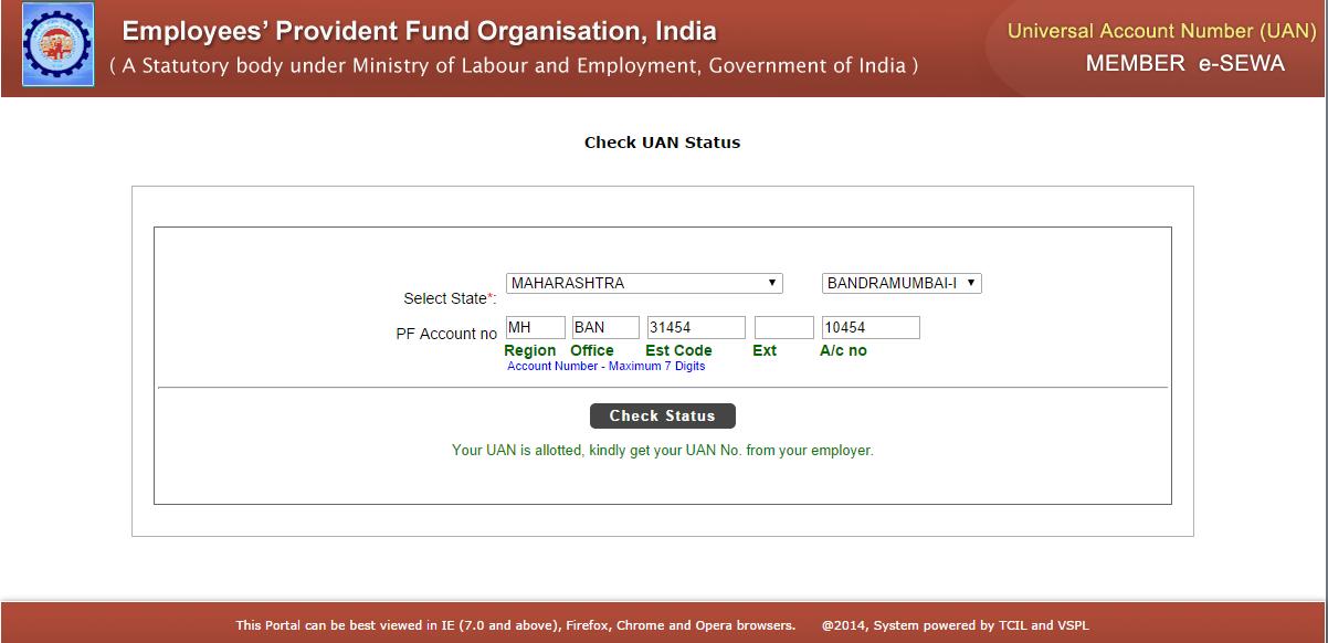 Fill PF number on UAN Portal