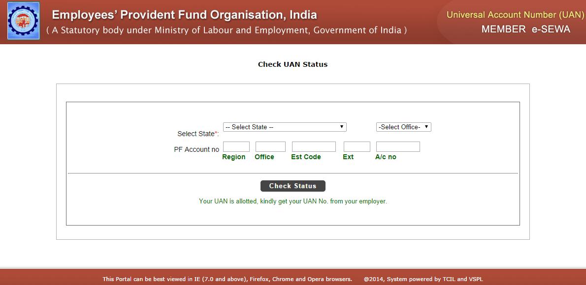 UAN allocation status