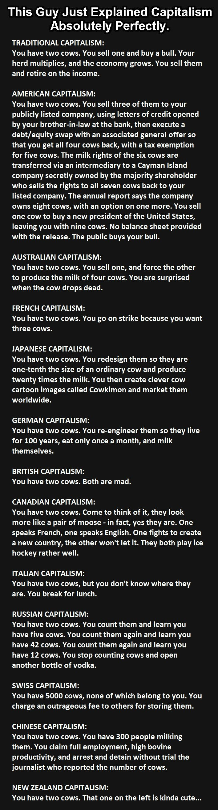 funny, capitalism, two cows capitalism, understanding capitalism, learn capitalism funny way, lol