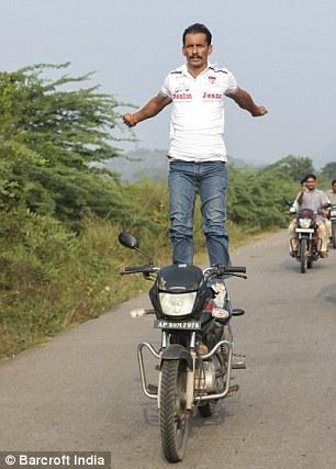 telangana, incredible indian, daring indian, india, high octane yoga guru, yoga, yoga on bike, extreme yoga, gugulotu lachiram, death defying stunts, motorcycle yoga, motorbike yoga