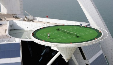 tennis in the sky, world's highest tennis court, burj al arab, andre agassi, roger federer, omg, tennis, tennis court, james the devil