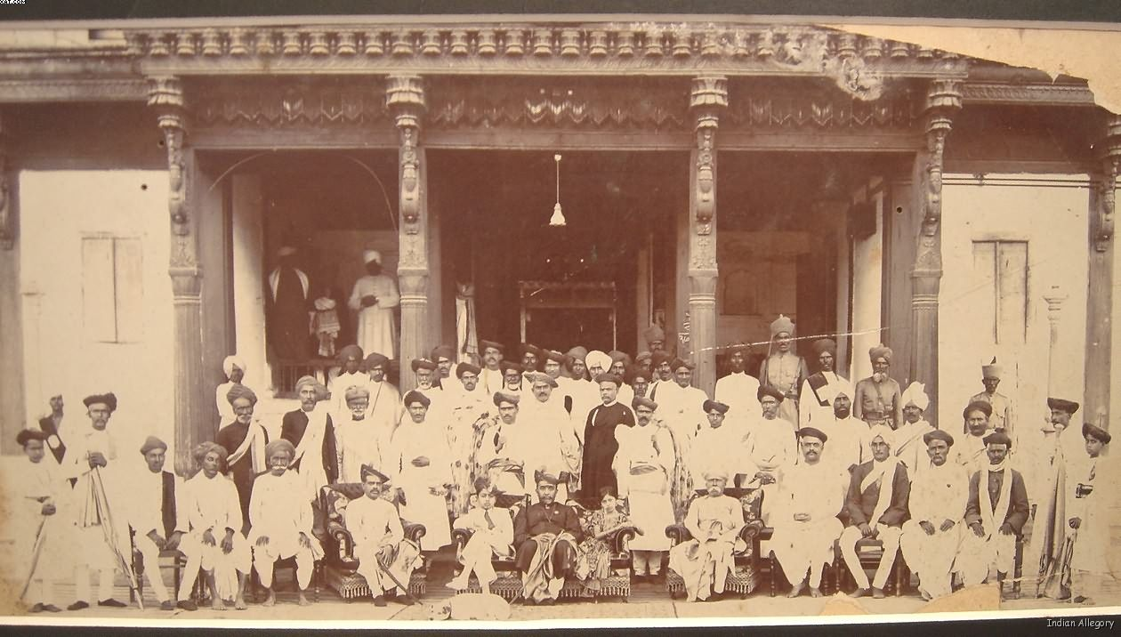 An undated photo of the Maharajah and his court, late 1800's