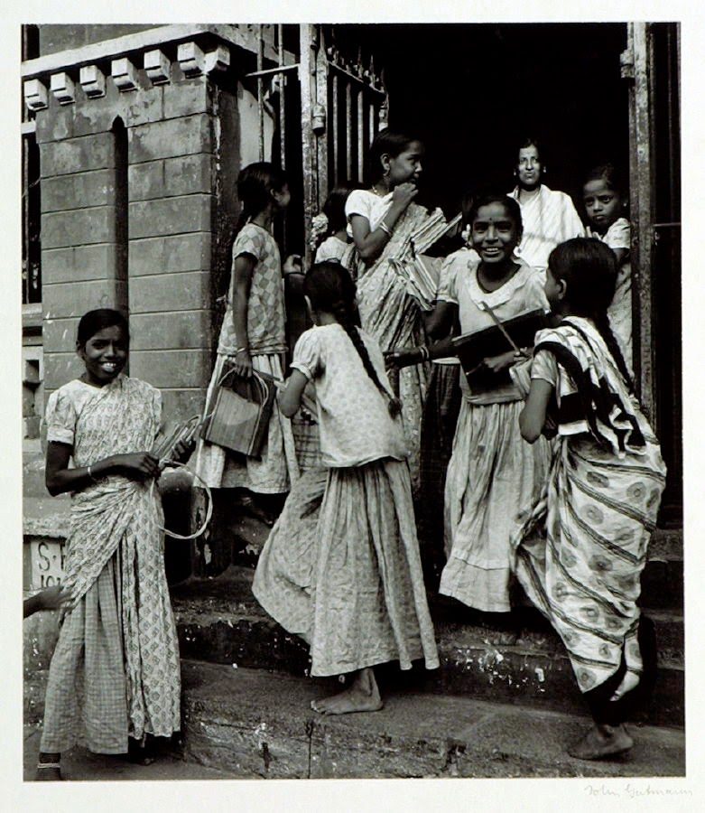 Girl Students and Teacher Leaving their School in Bangalore - c.1944-45
