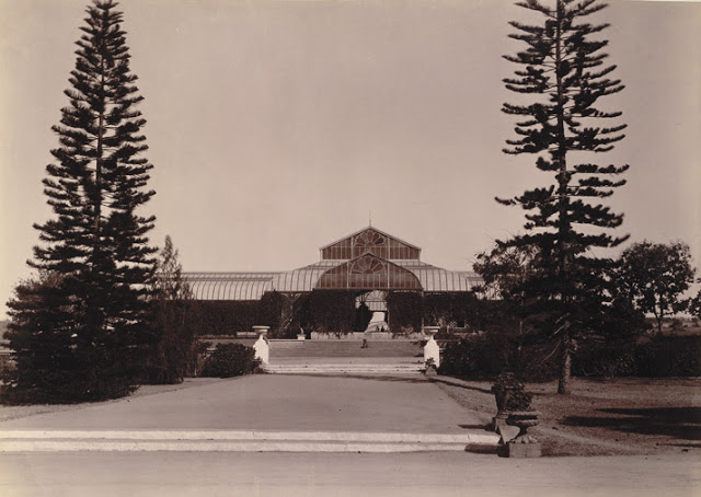Glass House at Lal Bagh Gardens, Bangalore taken in the 1890s