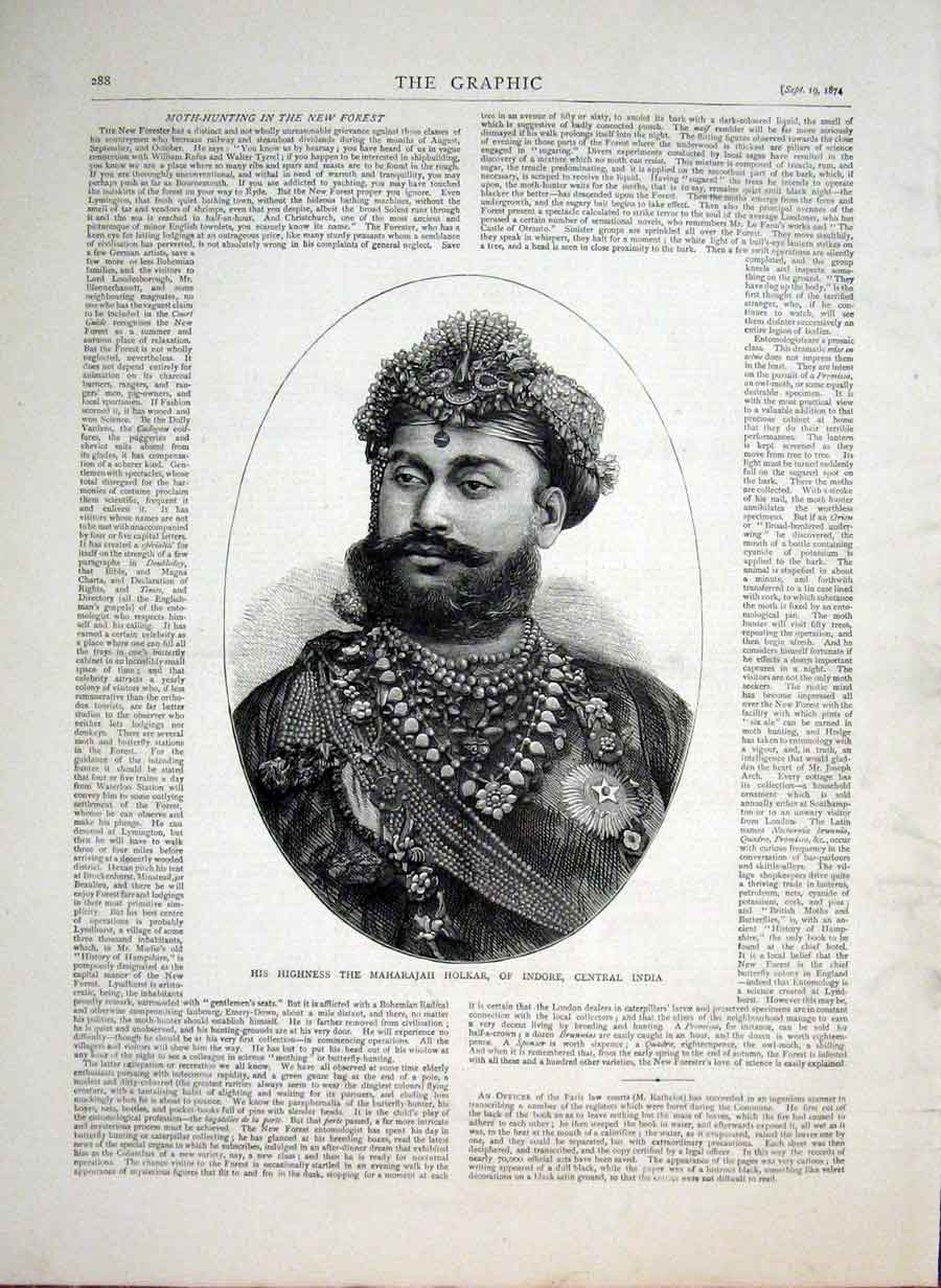 His Highness the Maharajah Holkar of Indore, Central India from The Graphic, 1874