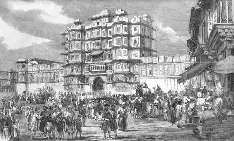 Indore the chowk, or square, before the palace of the rajah