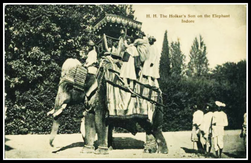 One Of The Rare Vintage British Indian Postcard 'H. H. The Holkar's Son on the Elephant. Indore'
