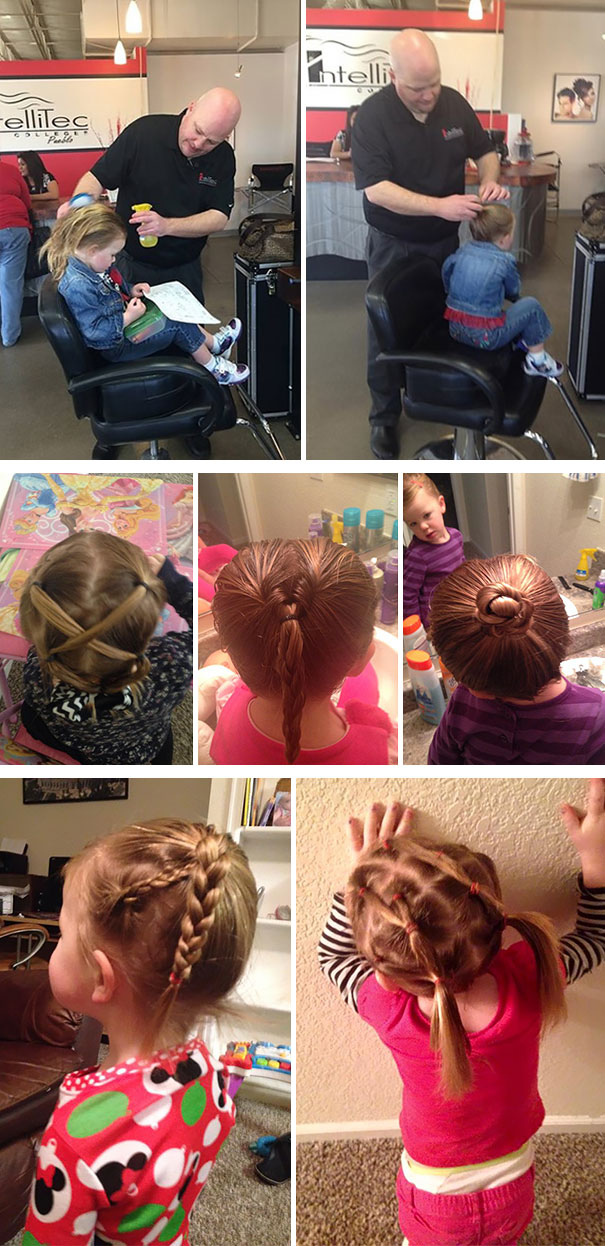 dad do his daughters  hair