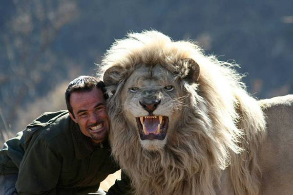 man with lion