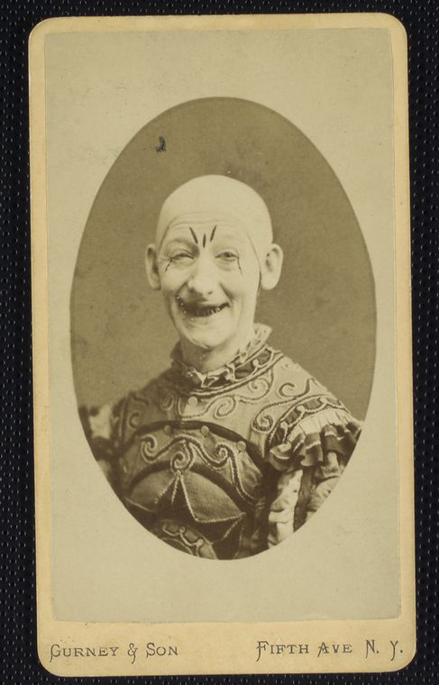 truly creepy clown - victorian era circus photograph