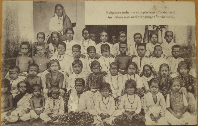 1910 Postcard Indian Nun & Orphanage Pondicherry