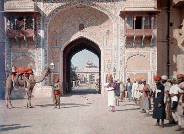 An entrance to the Maharaja's Palace in Jaipur 1926