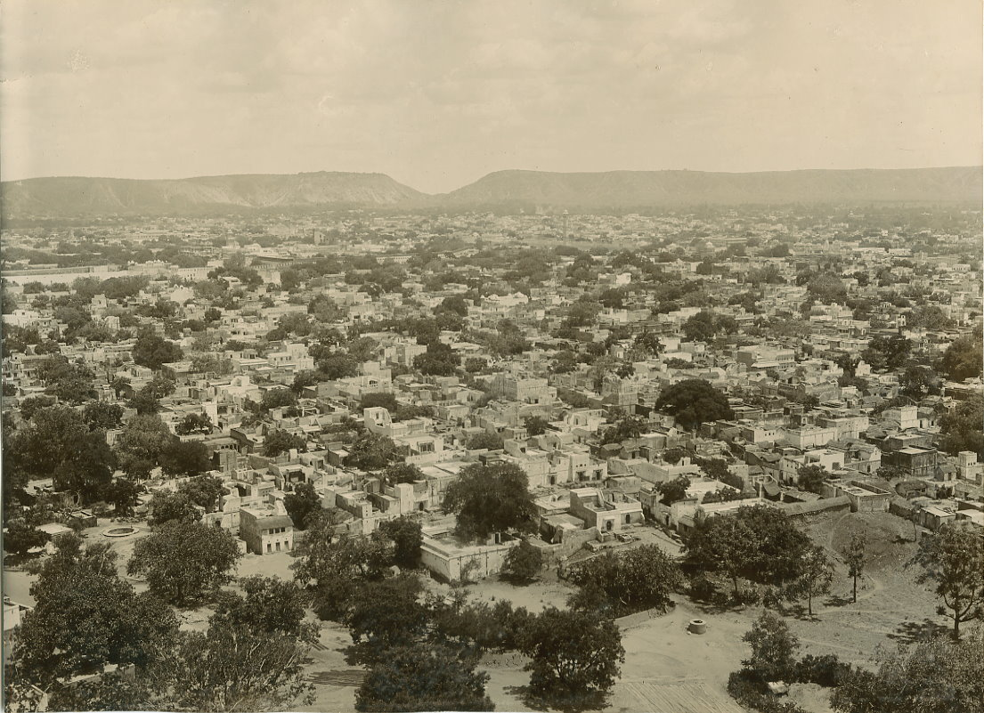 Bird's eye view of Jaipur city, 1890s.