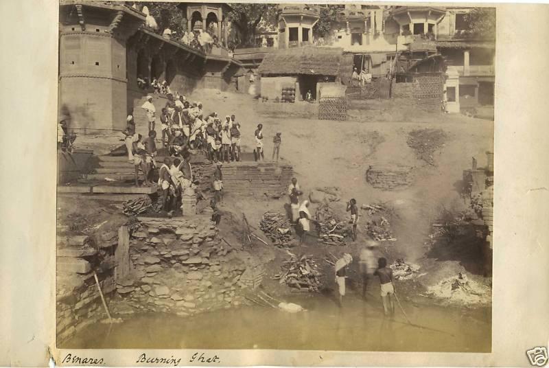 Burning Ghats at Benares, India Original 1894 Photo  1