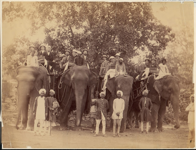 Four Elephants with Western Travellers and Attendants, Jaipur, India - 1860s-70's