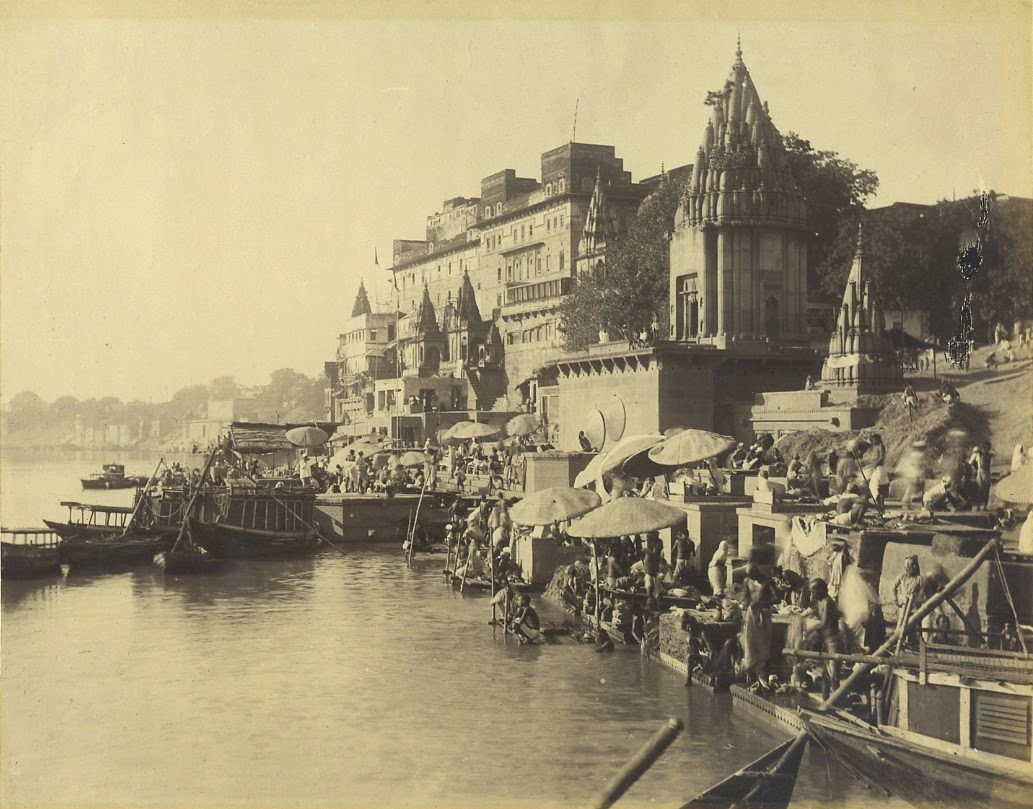 Ghats, Architectures and River Ganges in Varanasi (Benares) - c1870's