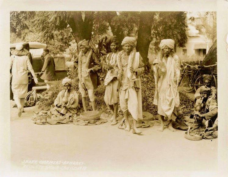 Group of Snake Charmers on the Street of Benares (Varanasi) - 1929
