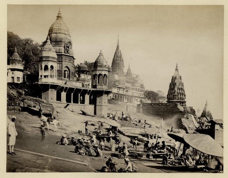 Manikarnika Ghat in Varanasi (Benares). This is the Main Burning Ghat of Varanasi - 1870's