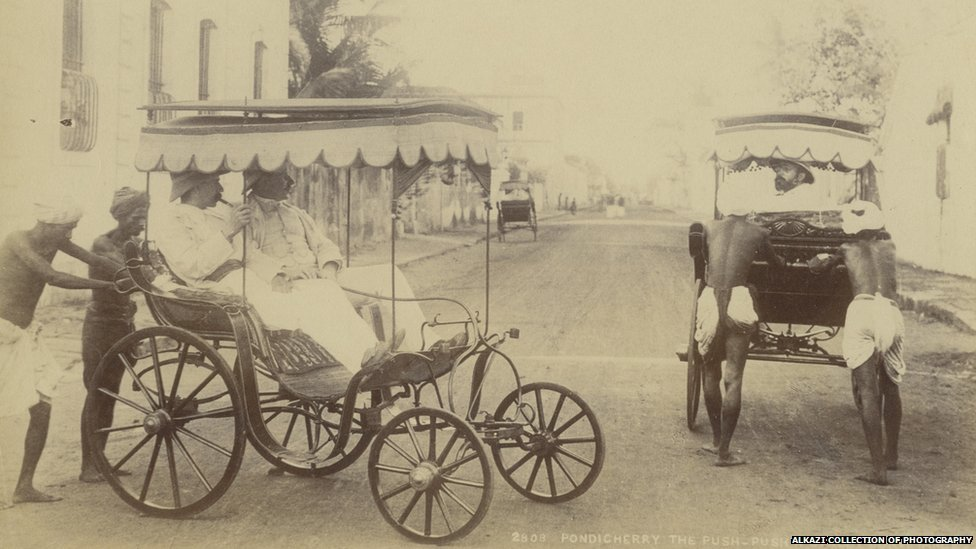 Pondicherry the push-push, a street conveyance, taken in 1890 from the Bourne