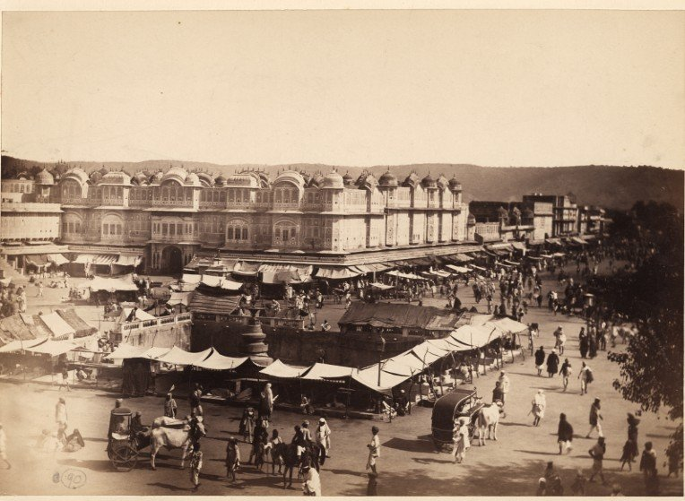 Street and public library, Jeypore, an albumen photo, c.1870-80's