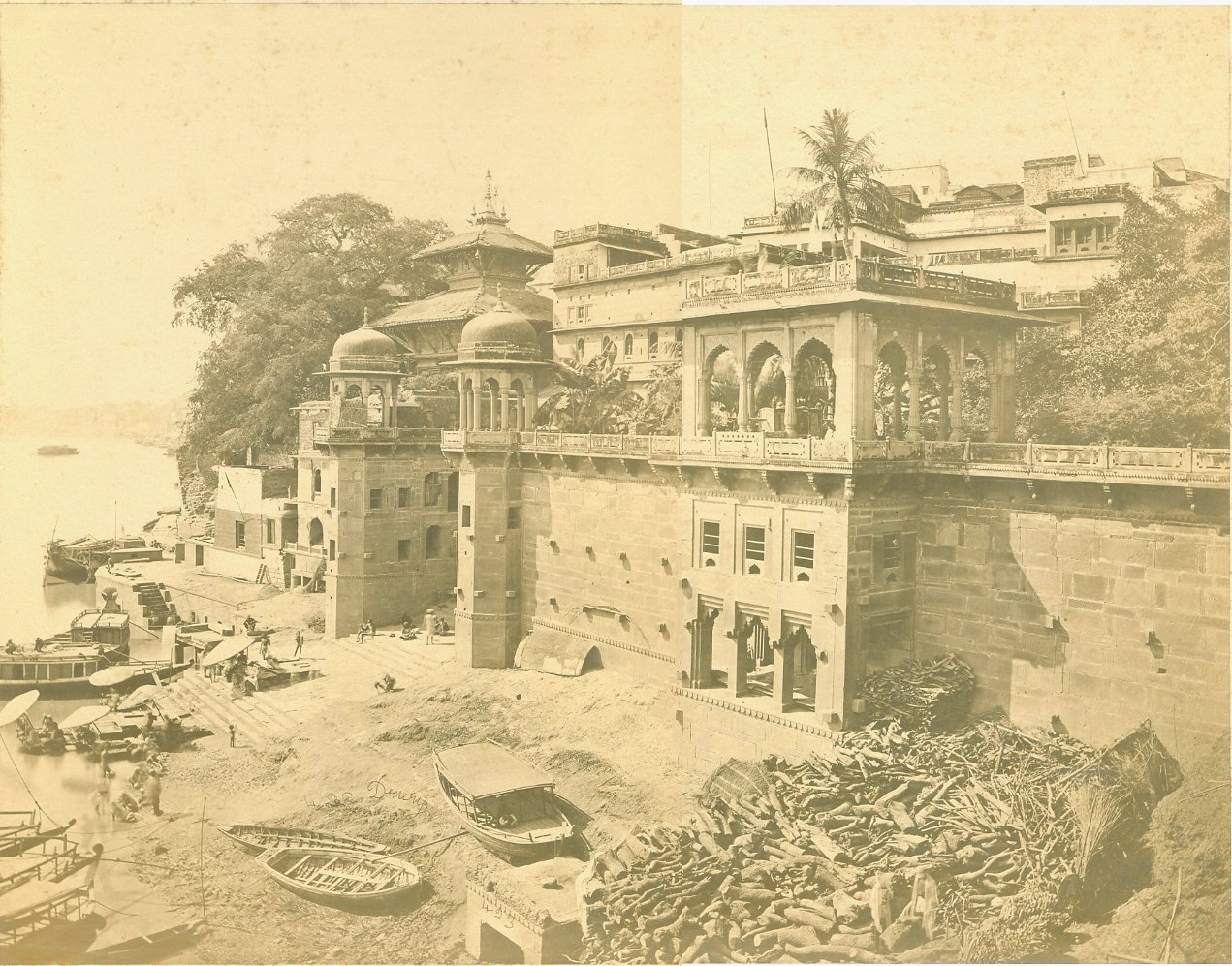 The Nepaulese Temple in Benares, an albumen photo by Drury, c.1860's