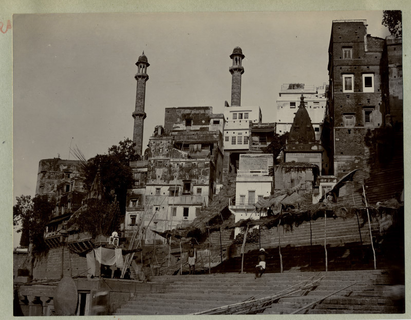 c.1890's PHOTO INDIA THE STEPS TO THE RIVER BENARES