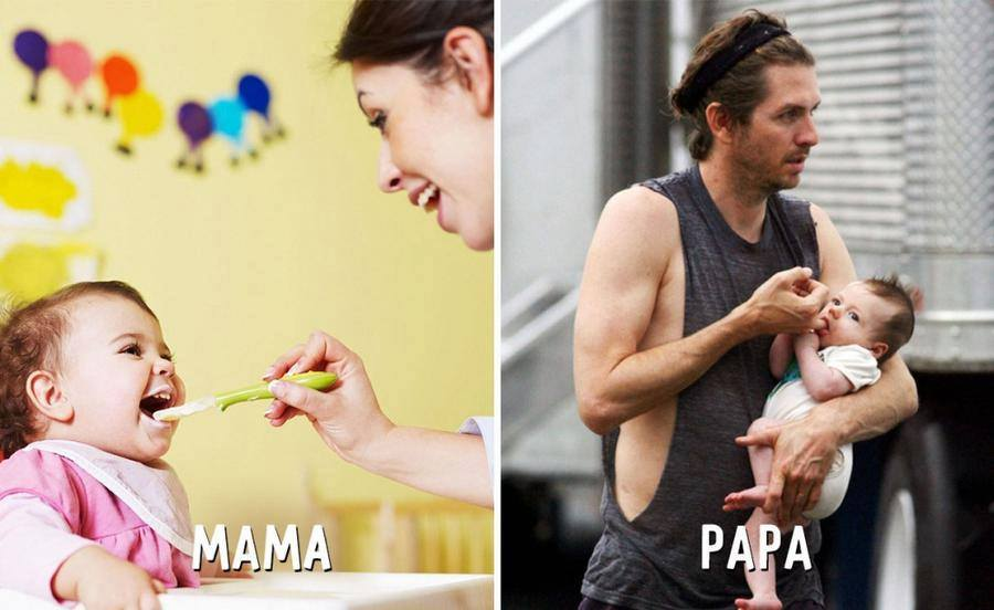 Baby Funny Cute Pictures, mom vs dad, mama vs papa, Mother vs Father, lol, omg, wtf, funny, kids, father mother difference, parenting, family photos, mummy vs papa, mother and father
