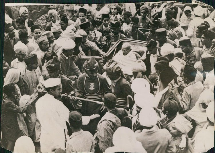 A Crowd Surrounds Mahatma Gandhi as He Arrived In a Rickshaw to Visit Victor Hopem the Marquees of Linlithgow, Viceroy of India at Simla - 1940