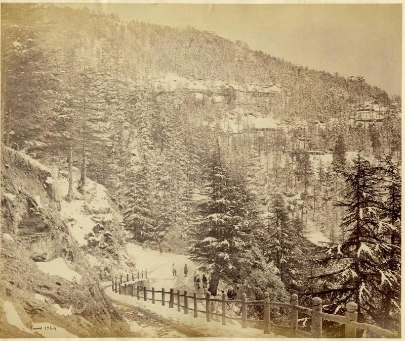 Simla in winter, a photo by Bourne, c.1860's