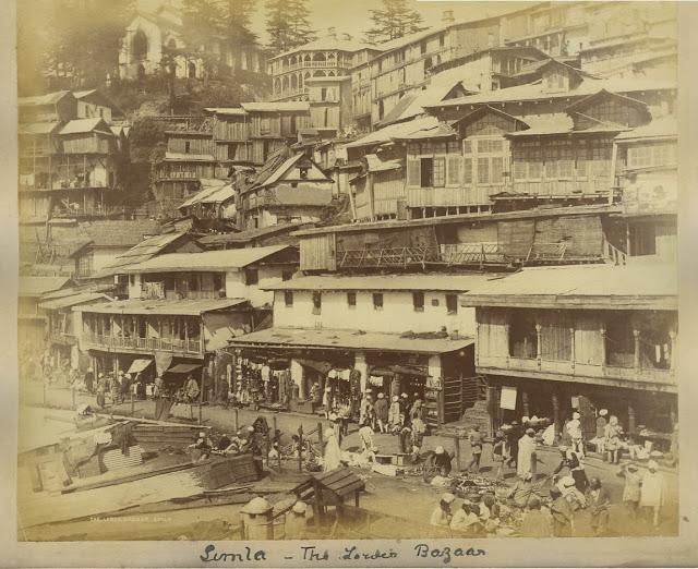 Street and Lower Bazaar at Simla 1890's