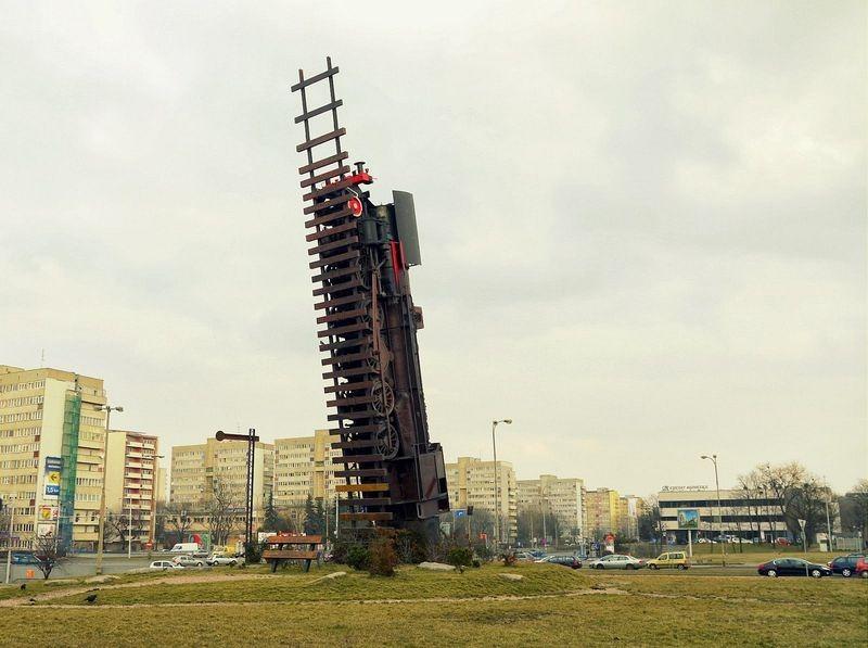 Poland, train, Wroclaw, Monument europe, culpture, art, Andrzej Jarodzki, poland train, Pociąg Do Nieba