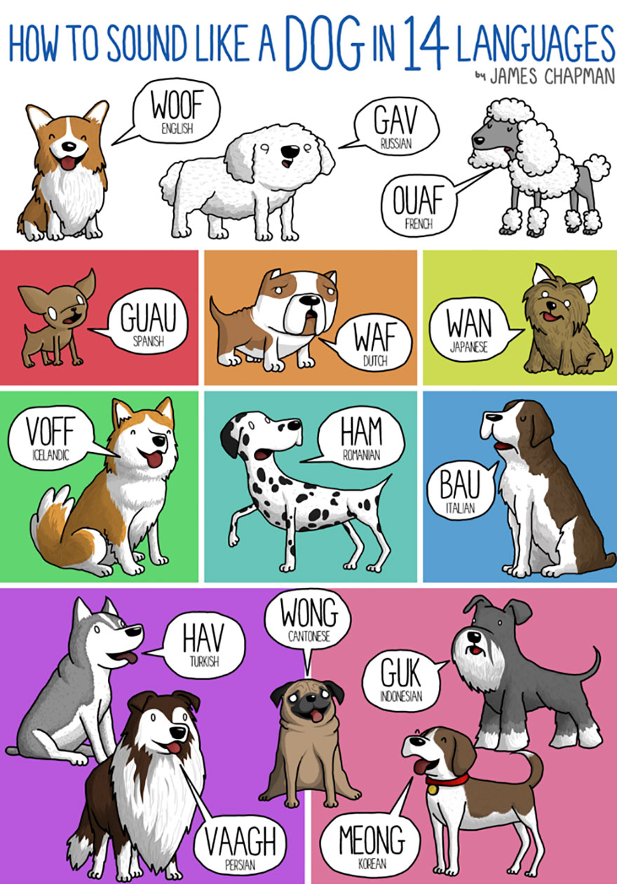 dog barking in different languages