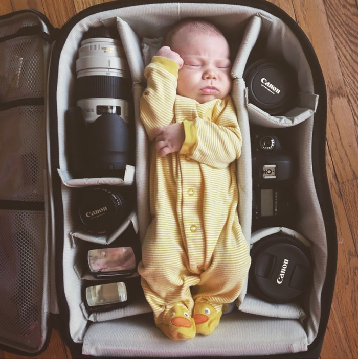 10 Adorable Pics Of Babies Sleeping In Camera Bags