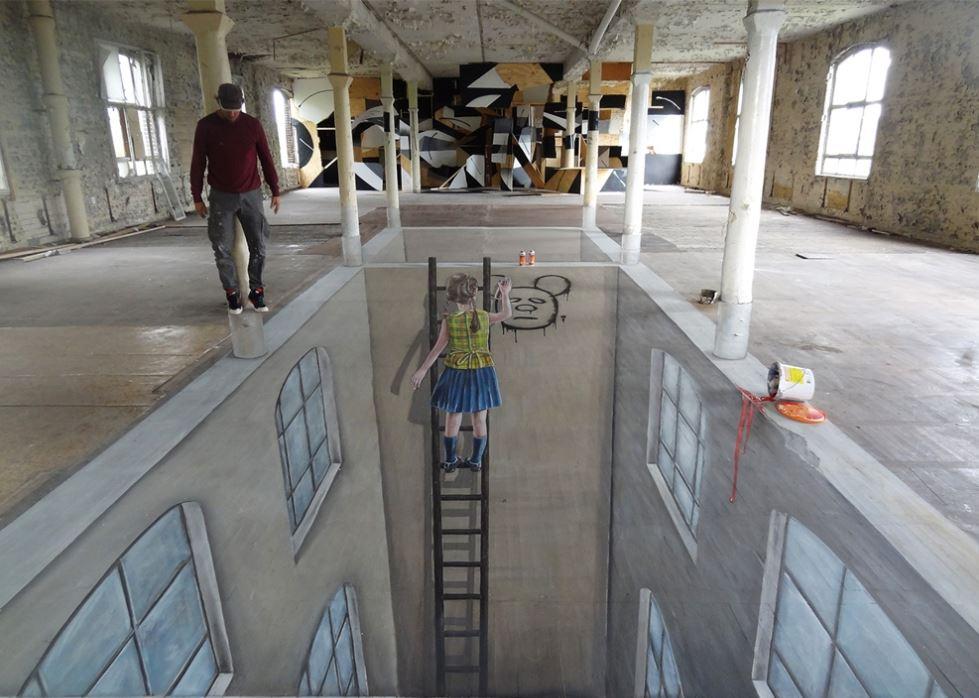 abstract art, 3d wall art, optical illution, 3d illution,pavement art,graffiti