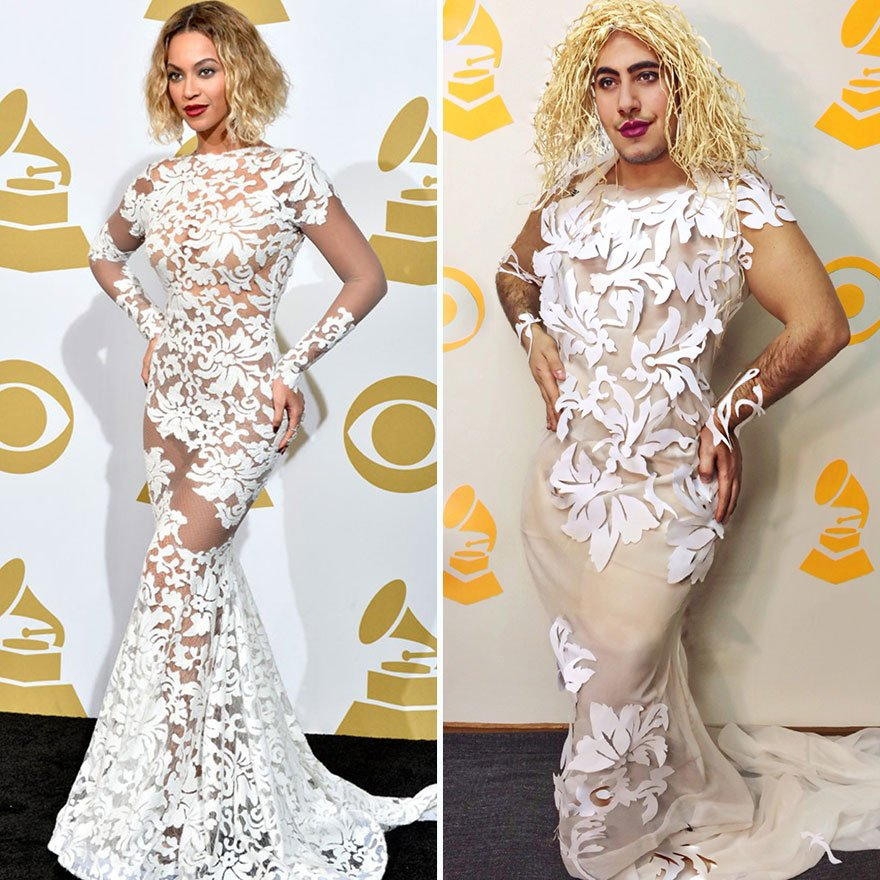 "Celebrity, Fashion, Shower, Curtains, Garbage, Bags, Artist Mina Gerges, project ""KeepingUpWithMina"", Instagram, Artist, Mina Gerges, creative, creativity, idea, celebrity dress, celebrity fashion, cool idea, cool dress, amazing dress"