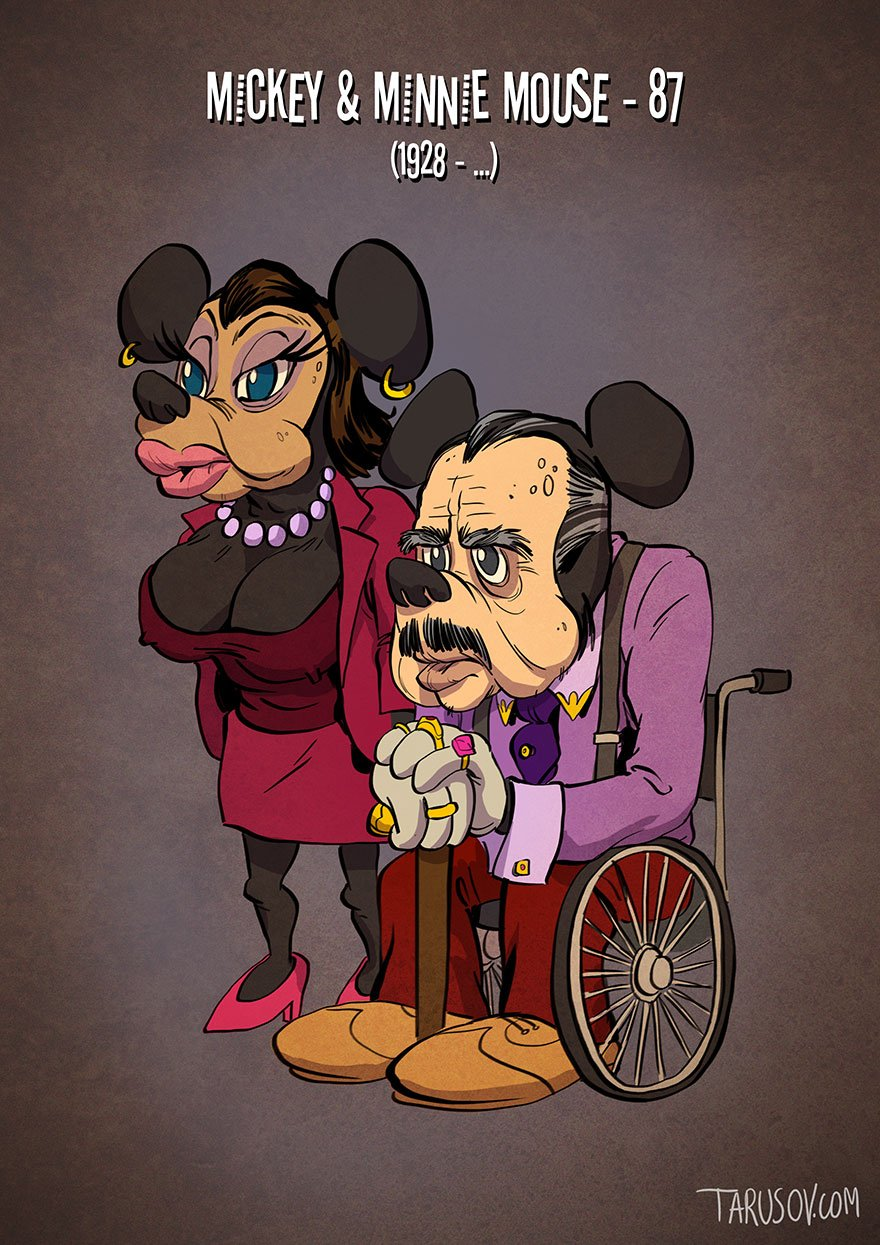 Cartoon, Characters, Cartoon Characters, favourite Cartoon Characters, Andrew Tarusov, Russian artist, Los Angeles, California, real age, retired cartoon characters, tom & jerry, daisy duck, donald duck, Goofy, Micky mouse, mini mouse, illustrations, funny illustrations, imagination, creative, creativity, funny, wtf, wow, omg, hehehe, lol, tweety