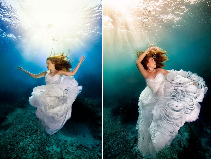 underwater, mermaid, brides, adam, opris, photographer, photography, mermaid brides, photoshoot, wow, amazing, incredible, mindblowing, bride & groom, surfer, diver, water, 30 feet underwater, Florida